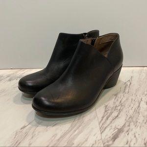 Dansko Raina Leather Block Heel Black Booties
